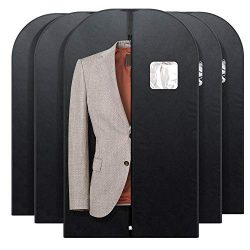 Titan Mall Suit Garment Bag for Storage or Travel Suit Covers 42inch with Clear Window Pack of 5