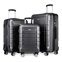 SHOWKOO Luggage Sets Expandable Suitcase Double Wheels TSA Lock (Gray)