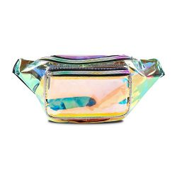 PURE HEART Fashion Holographic Fanny Pack for Women and Men 80s Cute Waist Bag with Adjustable S ...