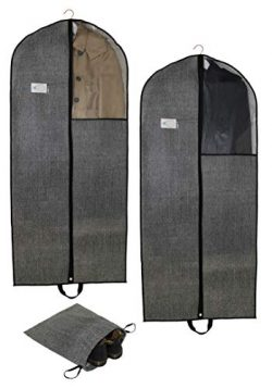 Right Idea 54″ Set of 2 Garment Bags,Breathable Suit Bag for Travel,Storage,Carry On & ...