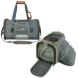 Mr. Peanut's Expandable Airline Approved Soft Sided Pet Carrier, Luxury Travel Tote with P ...