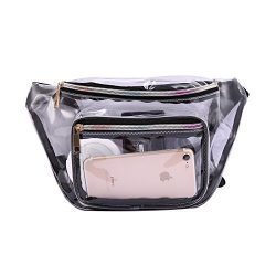HDE Clear Fanny Pack for Stadiums Rave Festival Travel Transparent Waist Pack (Clear)