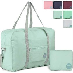 WANDF Foldable Travel Duffel Bag with Shoulder Strap Water-Resistant for Luggage Sport Gym (Mint ...