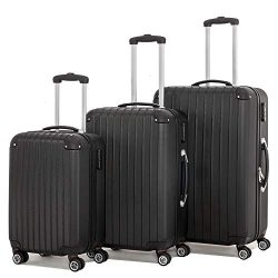 3 Pieces Spinner Luggage Sets black Suitcase Sets Hardshell Lightweight ABS Travel Luggage Troll ...
