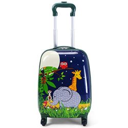 HONEY JOY 2Pc 12″ 16″ Kids Carry On Luggage Set Upright Hard Side Suitcase Travel Tr ...