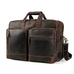 Men's Vintage Leather Messenger Satchel Casual Multi-Purpose School Case Tablet Travel Wee ...