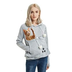 Women's Pet Pouch Holder,Dog Cat Carrier Sweatshirt Long Sleeve Kangaroo Pullover Hoodie Womens  ...