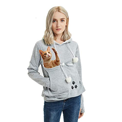 Women's Pet Pouch Holder,Dog Cat Carrier Sweatshirt Long Sleeve Kangaroo Pullover Hoodie Womens  ...