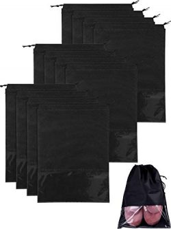 SATINIOR 12 Pieces Large Travel Shoe Bag with Transparent Window, X-Large (Black)