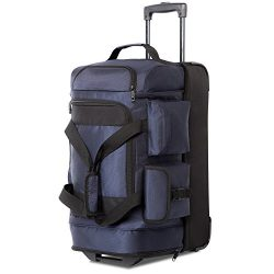 Coolife Rolling Duffel Travel Duffel Bag Wheeled Duffel Carry-on/Cabin Size 8 Pockets