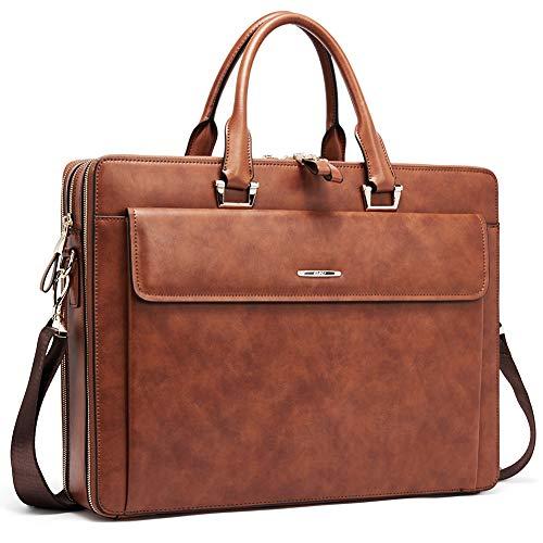 Cluci Women Leather Briefcases Slim Large Business 15.6″ Laptop Vintage Shoulder Bag for M ...