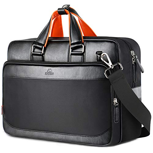 Leather Messenger Bag,17 inch Leather Briefcase for Men and Women, Large Laptop Bags with Should ...