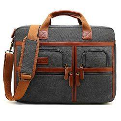 CoolBELL 17.3 Inches Laptop Messenger Bag Protective Shoulder Bag Canvas Business Briefcase Mult ...