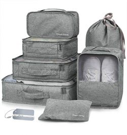 Packing Cubes 7 Pcs Travel Luggage Packing Organizers Set with Laundry Bag (Grey)