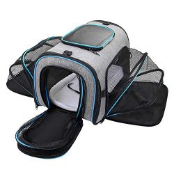 Siivton Cat Carrier, 4 Sides Expandable Pet Carrier Airline Approved Soft Sided Pet Travel Carri ...