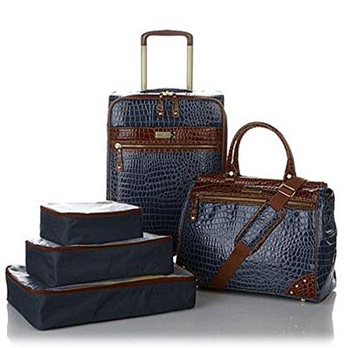Samantha Brown Classic Navy/Camel 5 piece Luggage Set, 21″ Spinner, Dowel Bag & Packin ...