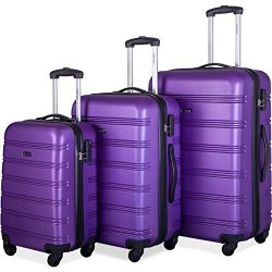 Merax 3 Pcs Luggage Set Expandable Hardside Lightweight Spinner Suitcase (Purple)