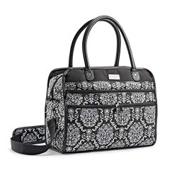 Fit & Fresh Wayfarer Carry On Bag for Women, Zippered Travel Tote, Black & White Damask