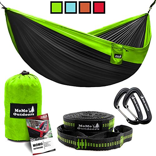 Lightweight Double Camping Hammock – Adjustable Tree Straps & Ultralight Carabiners In ...