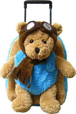 Kreative Kids Adorable Aviator Pilot Bear Rolling Backpack w/Removable Stuffed Toy & Wheels