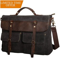 Large Messenger Bag for Men Tocode, Vintage Waxed Canvas Satchel Leather Briefcases Crossbody Sh ...
