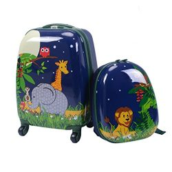 Custpromo 2 pcs ABS Kids Suitcase Lightweight Backpack Luggage Set 16″ Carry On Luggage wi ...
