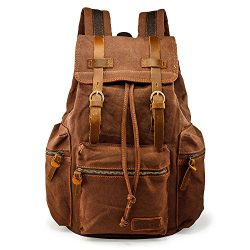 GEARONIC TM 21L Vintage Canvas Backpack for Men Leather Rucksack Knapsack 15 inch Laptop Tote Sa ...