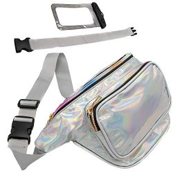 Holographic Fanny Pack with Belt Extender – Plus Waterproof Phone Pouch – 3 Pockets, ...