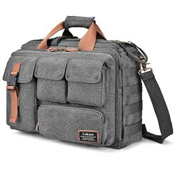 LOKASS 17.3 Inches Laptop Bag Canvas Messenger Bag Business Travel Shoulder Bag Large Capacity C ...