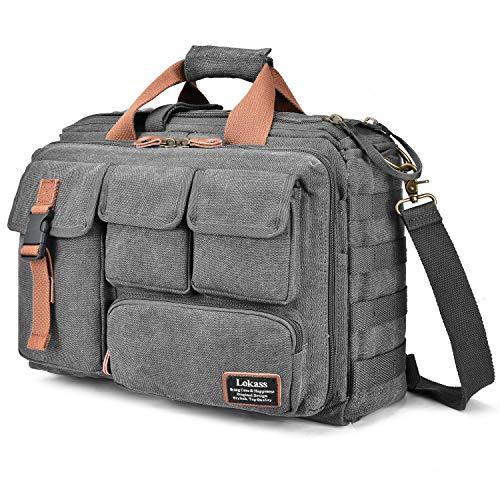 LOKASS 17.3 Inches Laptop Bag Canvas Messenger Bag Business Travel Shoulder Bag Large Capacity C ...