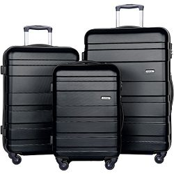 Merax 3 Pcs Luggage Set Hardside Lightweight Spinner Suitcase 20″ 24″ 28″ (New ...