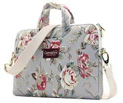 Canvaslove Grey Rose Pattern 13 inch Canvas Laptop Shoulder Messenger Bag for 11 inch 12 inch 13 ...