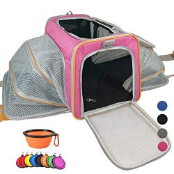 Adorabae Airline Approved Expandable Soft Sided Pet Carrier Luxury Two Side Expansion for Cats a ...