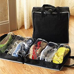 Botrong Portable Shoes Travel Storage Bag Organizer Tote Luggage Carry Pouch Holder (Black)