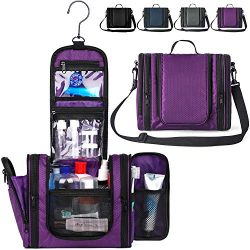 WANDF Expandable Toiletry Bag Dopp Kit TSA Approved Bottles Water Resistant Nylon, Black (Purple ...