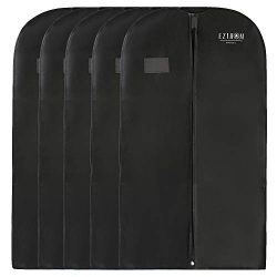 Ezihom 42″ Garment Bags for Storage, Black Non Woven Fabric Breathable Garment Bags for Su ...