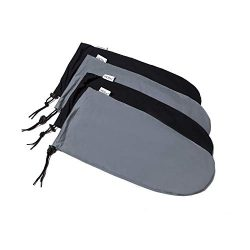 Shooin EZ-Pack Expandable Travel Shoe Bags with Locking Drawstring (4pack, blk-gray)