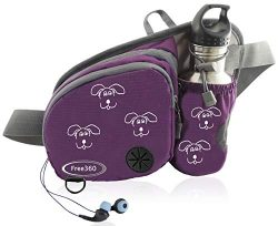 Free360 Dog Walk Waist Pack Fanny Bag Treat Pouch with Poop Bag Dispenser (Purple)
