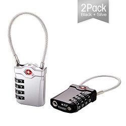 TSA Approved Travel Combination Cable Luggage Locks for Suitcases 2 Pack( Black+Silver)