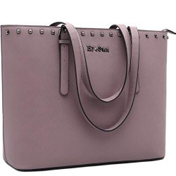 Laptop Bag for Women,15.6 Inch Laptop Tote Bag Office Briefcase with Adjustable Strap and Rivets ...