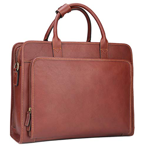 Banuce Vintage Full Grains Italian Leather Briefcase for Men Business Tote Attache Case Shouder  ...