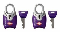 Master Lock Padlock, Keyed TSA-Accepted Luggage Lock, 1 in. Wide, Purple, 4689TPRP (Pack of 2)