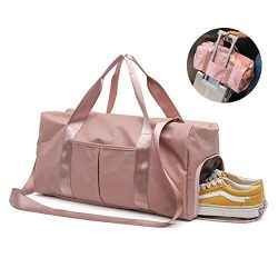 GeWeDen Duffle Bag, Gym Bag, Pink Duffle Bag for Women and Men with Wet Pocket and Shoes Compart ...