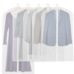 5 Pack – Simplehouseware 40-Inch Translucent Garment Bags with Zipper for Suits, Dresses,  ...