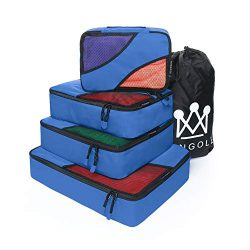 4 Set Packing Cubes Travel Luggage Packing Organizer with Laundry Bag 7 Colors Nylon YKK Zippers ...
