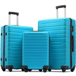 Flieks Luggage Sets 3 Piece Spinner Suitcase Lightweight 20 24 28 inch (Sky Blue)