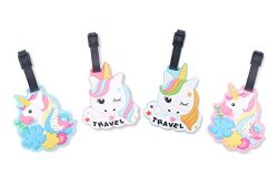 Finex Set of 4 – Unicorns Travel Luggage ID Tag for Bags Suitcases with Adjustable Strap