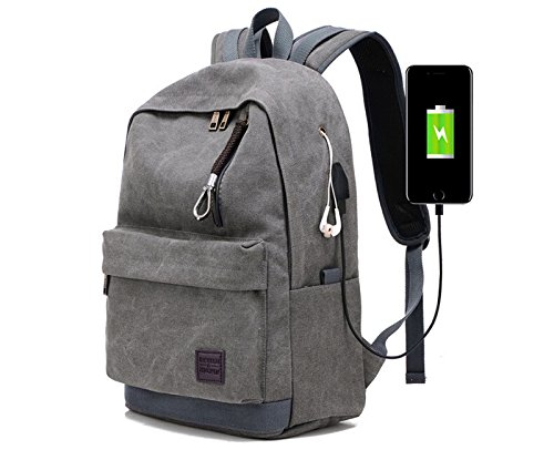 Doingbag Backpack with USB Charging Port Laptop Backpack Travel Bag Camping Outdoor (Grey)