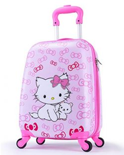 Girls Suitcase Hardshell Spinner Wheels – Kids Luggage 18 inch Carry On Bowknot Cat Travel ...