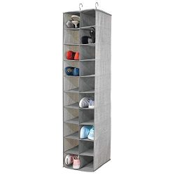 mDesign Soft Fabric Closet Organizer – Holds Shoes, Handbags, Clutches, Accessories – ...